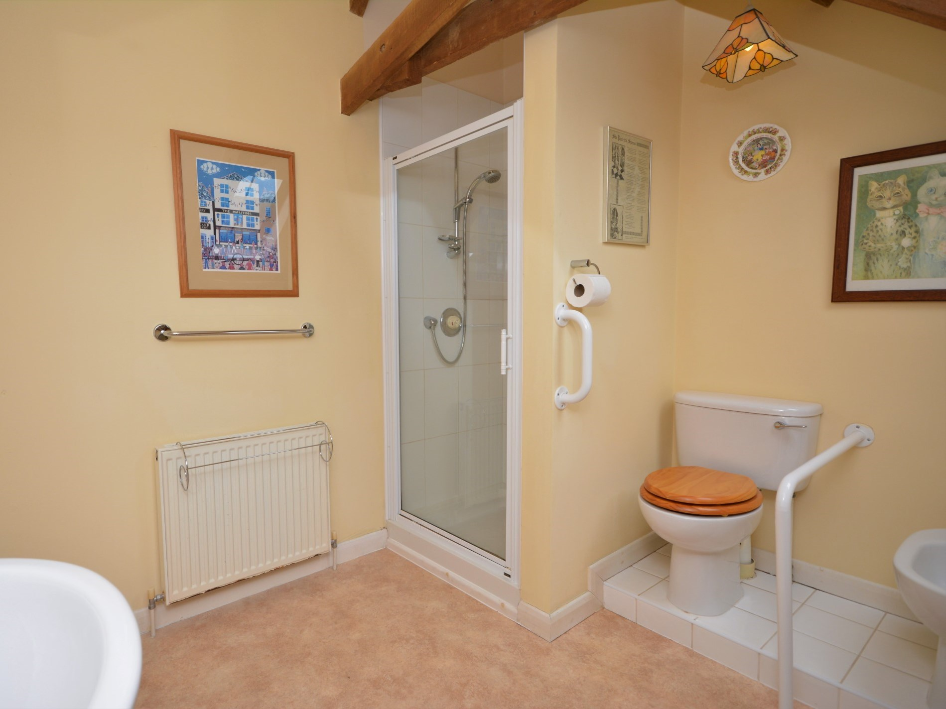 Shower room with WC and bidet