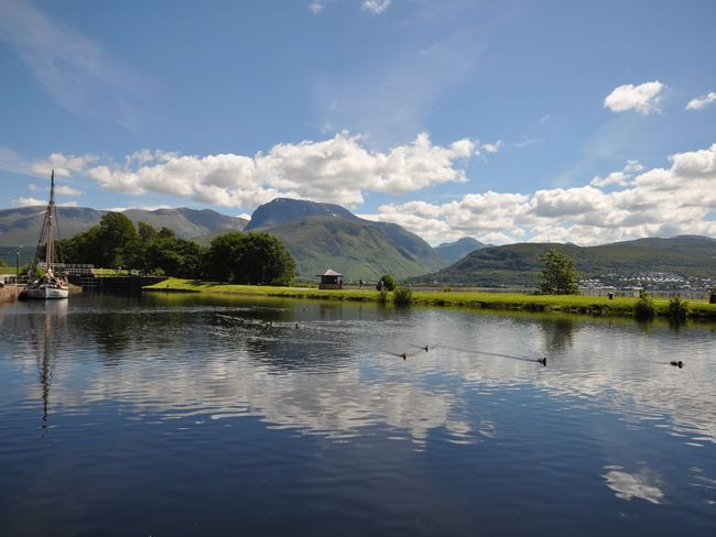 Caledonian Canal and Ben Nevis mountain range nearby