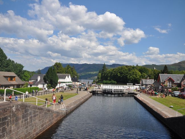 Take a stroll to the Fort Augustus canal nearby