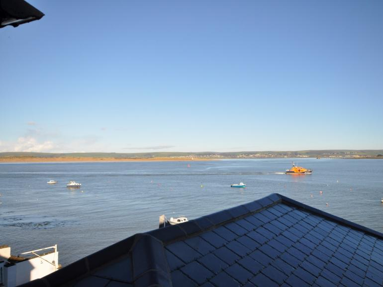 Views from the snug overlooking the estuary and out to sea