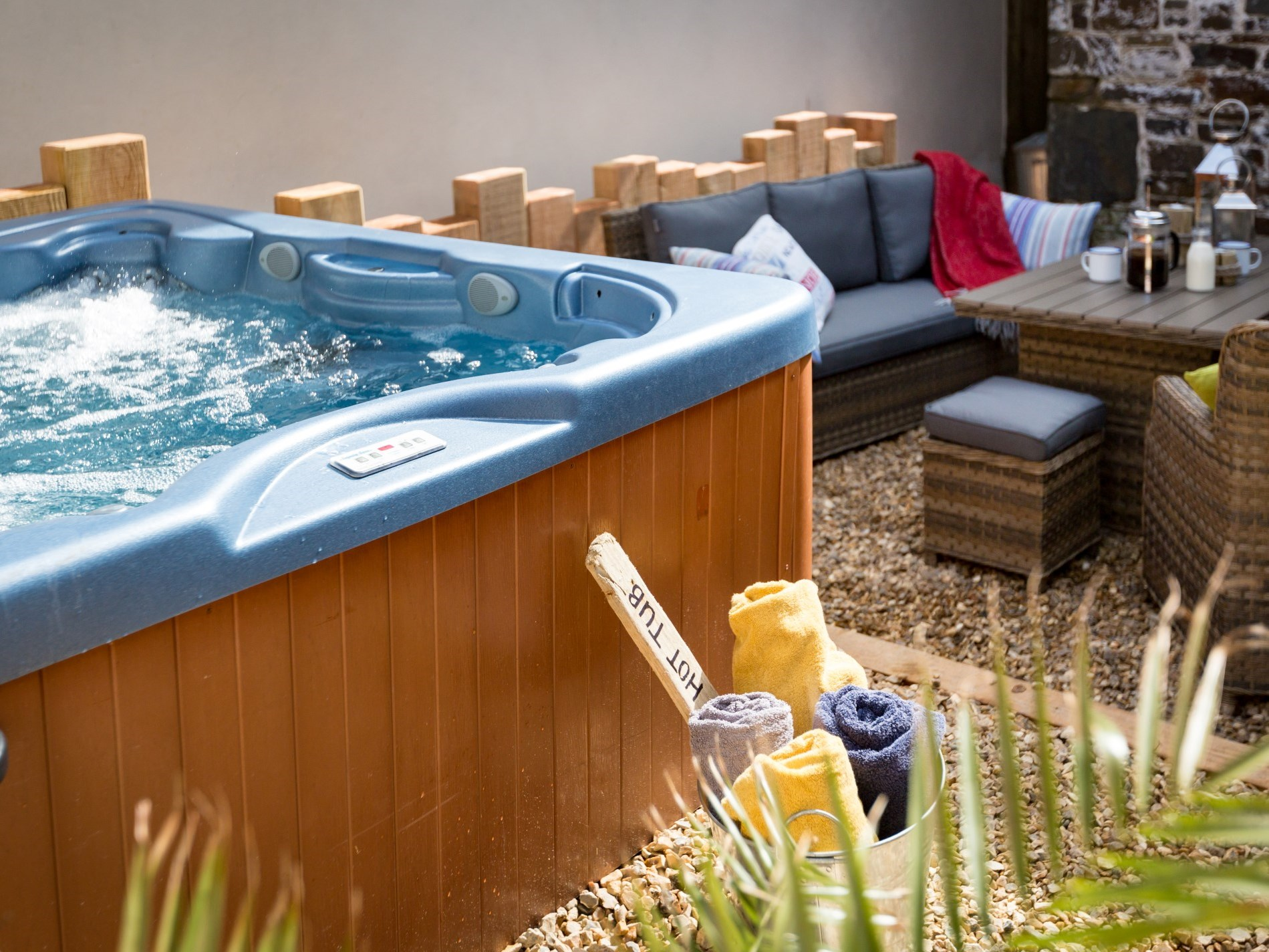 Enjoy a well deserved soak in the hot tub