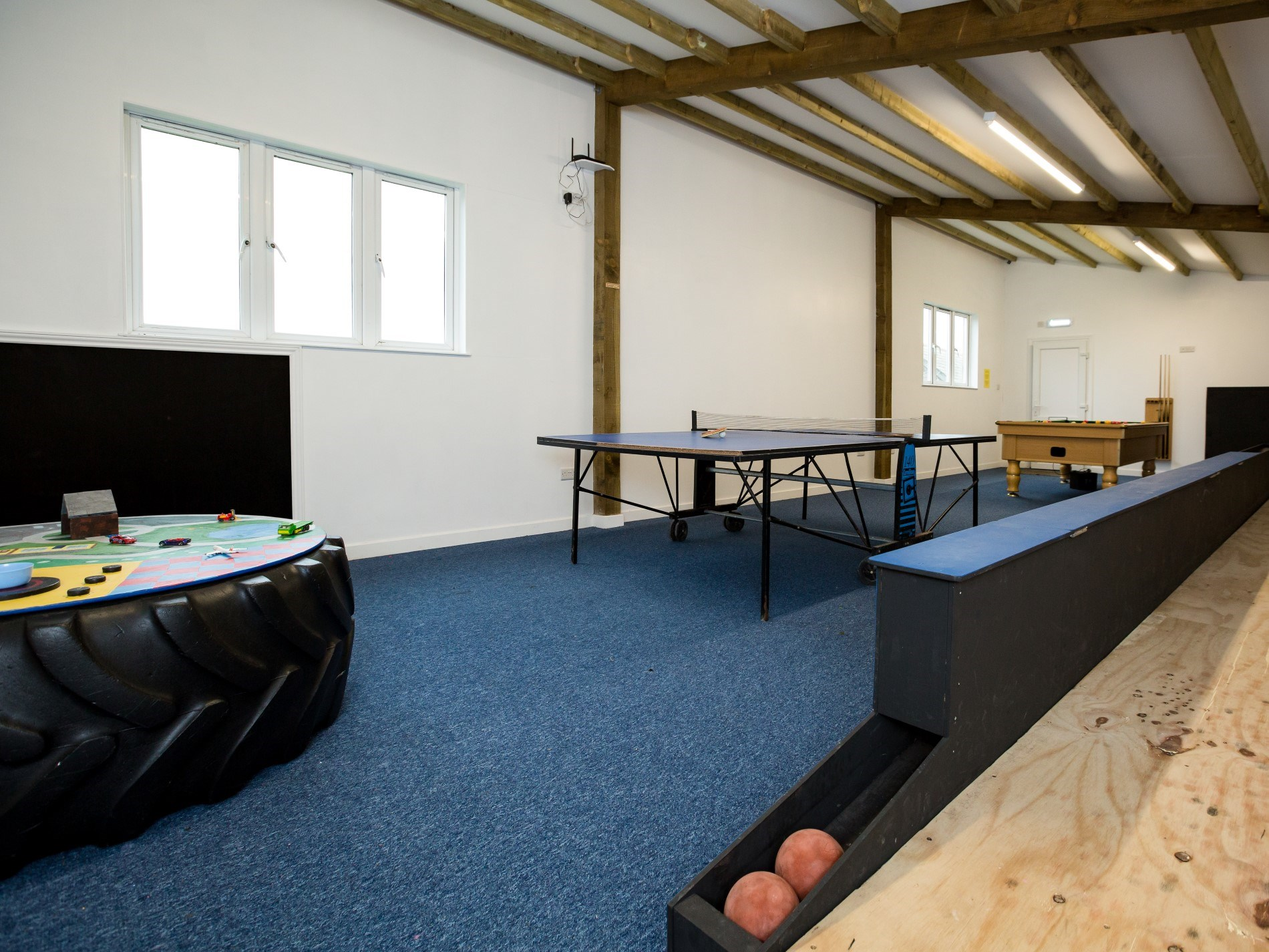 Keep the kids entertained in the shared games barn