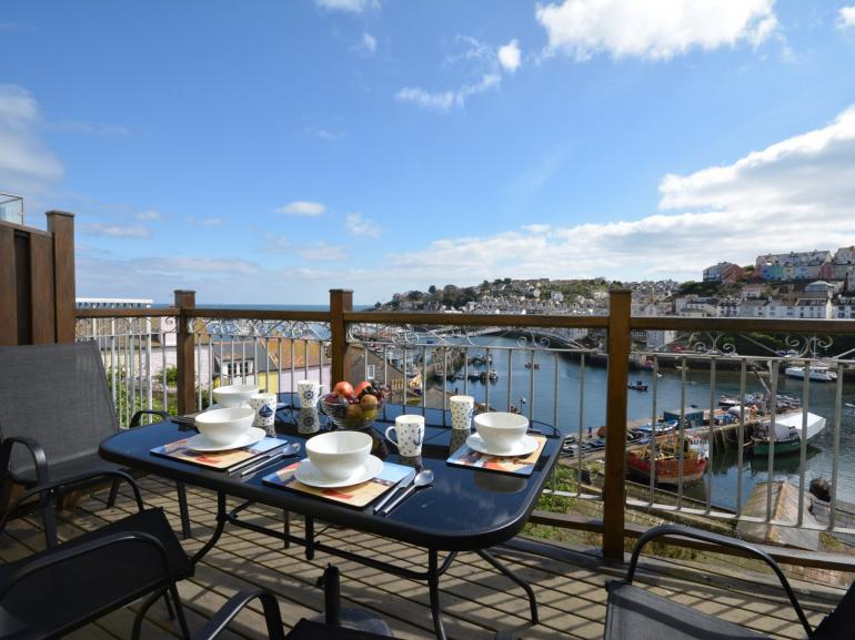 Views from the balcony over Brixham harbour and out to sea