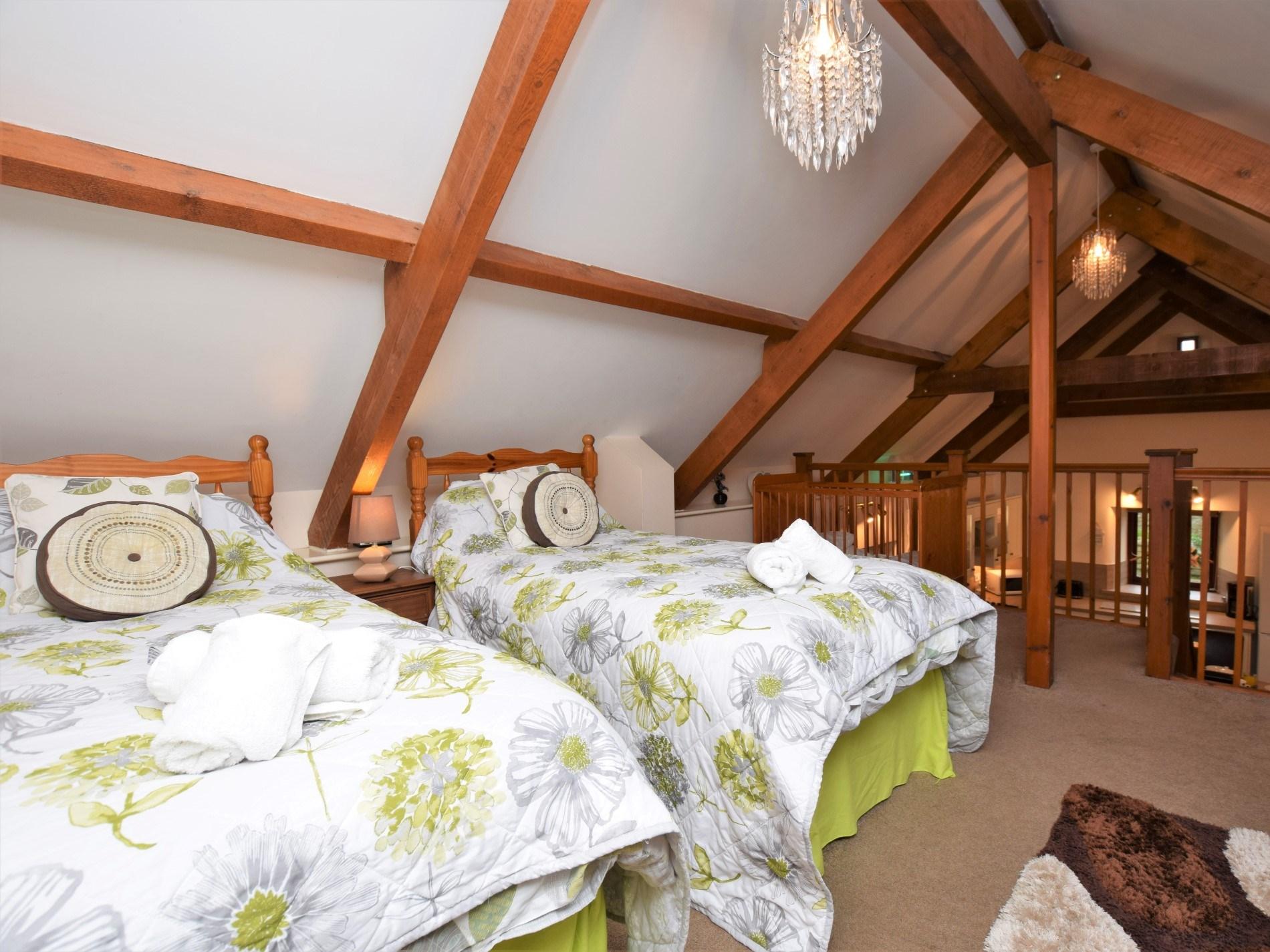 Twin bedroom located on mezzanine floor
