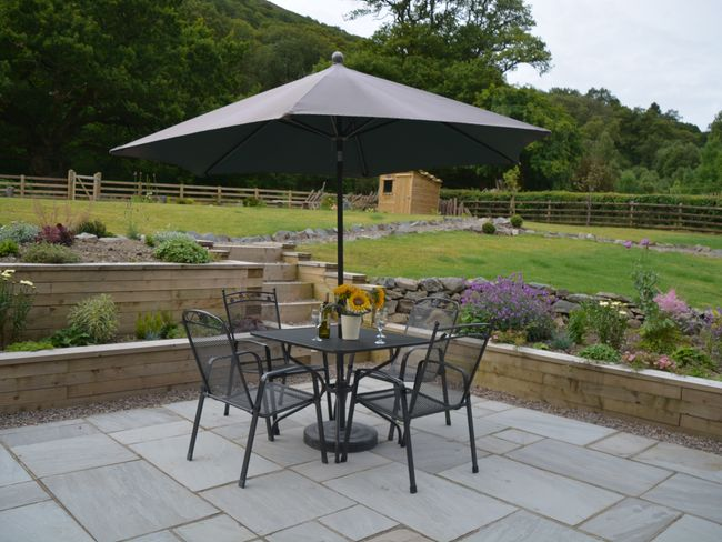 Seating area in the large landscaped garden