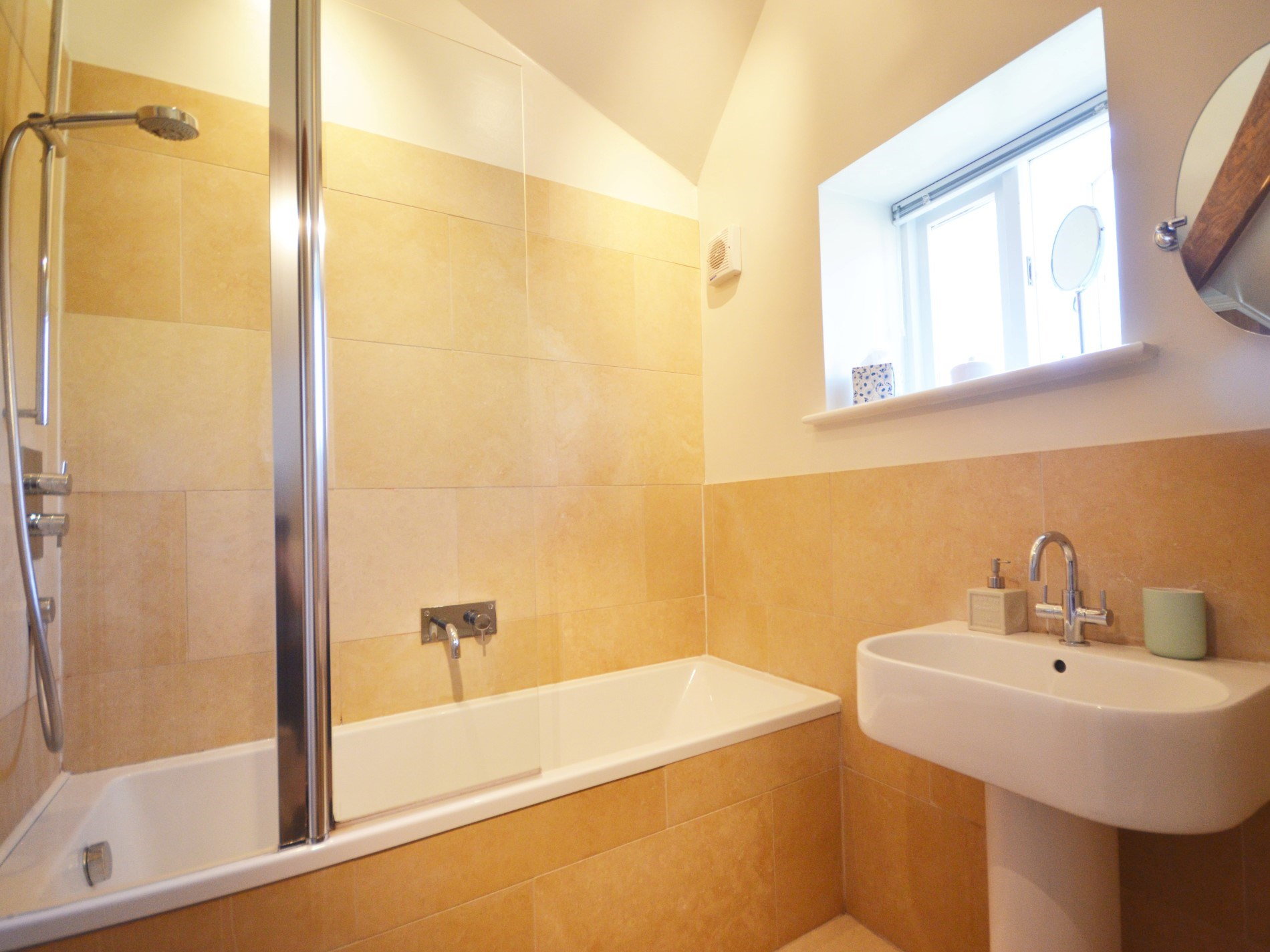 Ensuite bathroom with shower over
