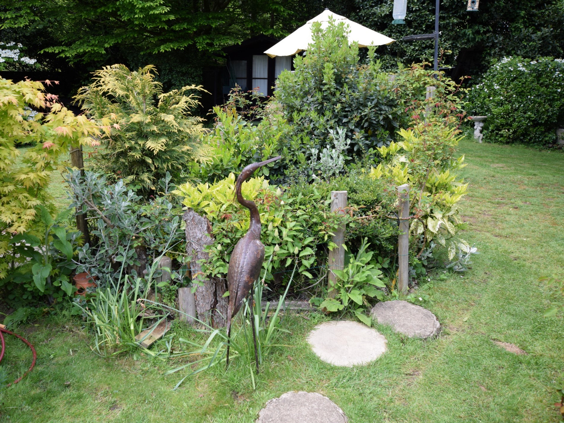 Well planted garden with wayer feature