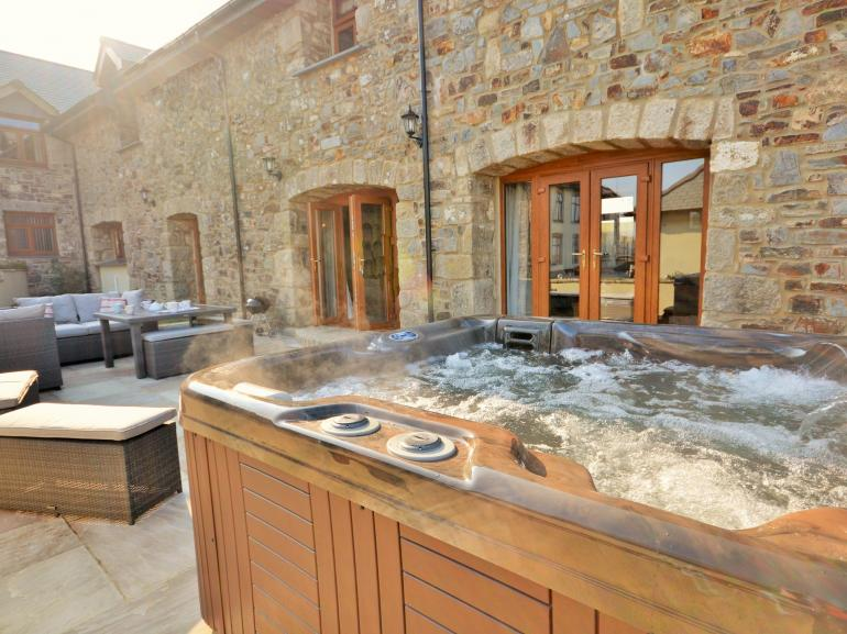 Hot tub and outside seating area