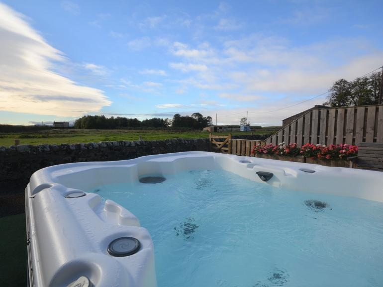 Hot tub with countryside views