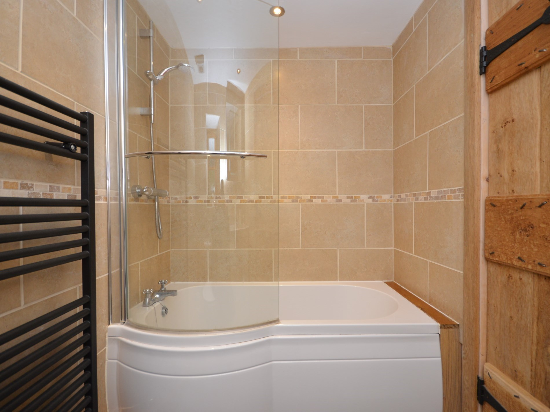 Downstairs bathroom with shower over
