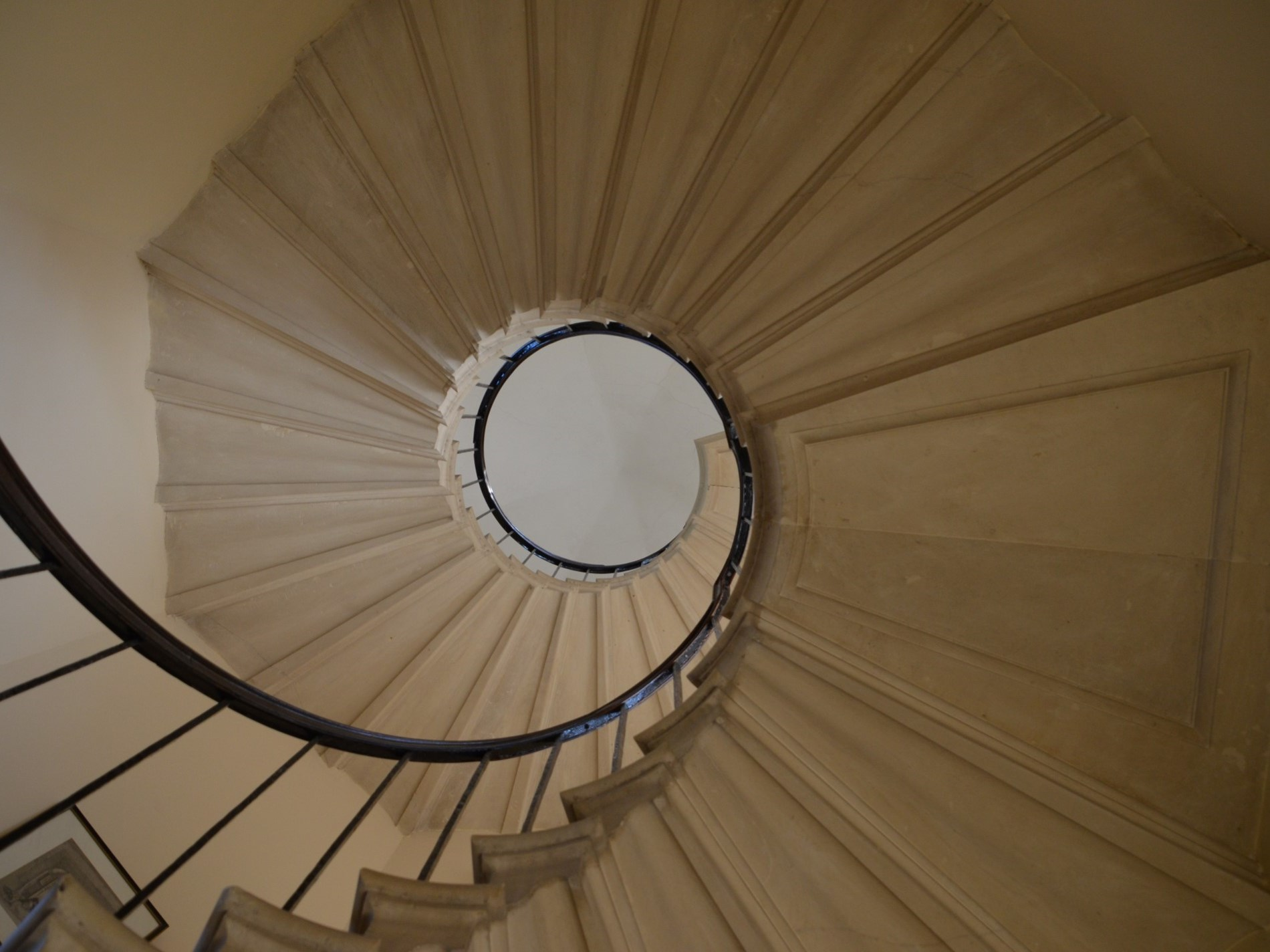 Looking up at this unique sprial staircase