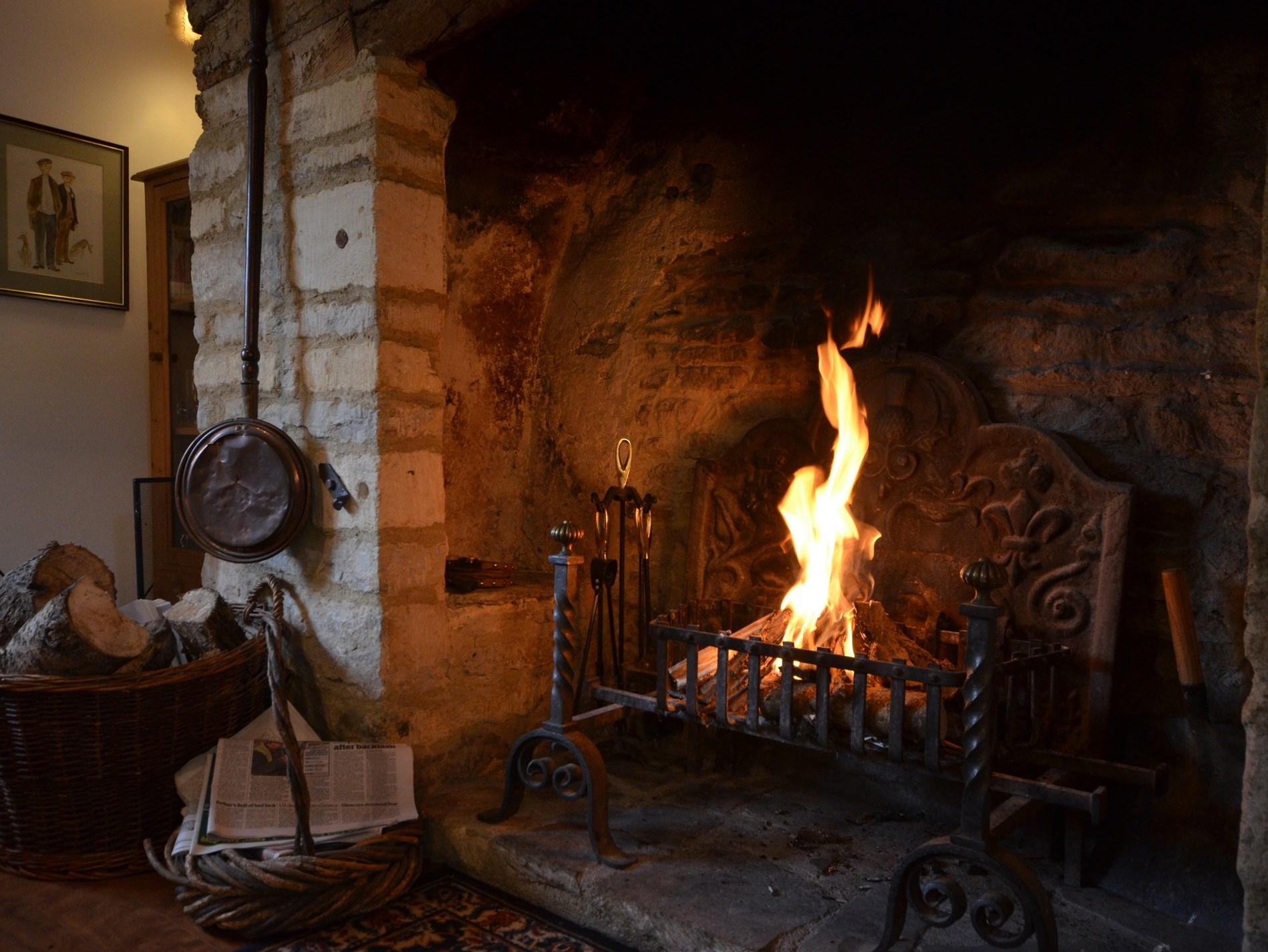 Lovely warming open fire