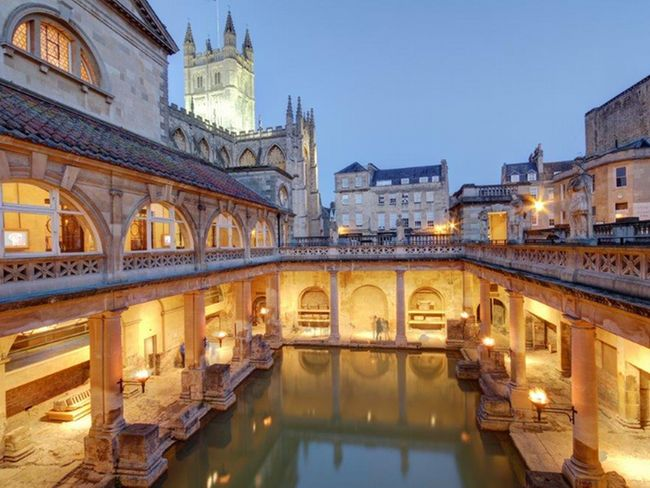 Visit Bath famous for its architecture and Roman Spa