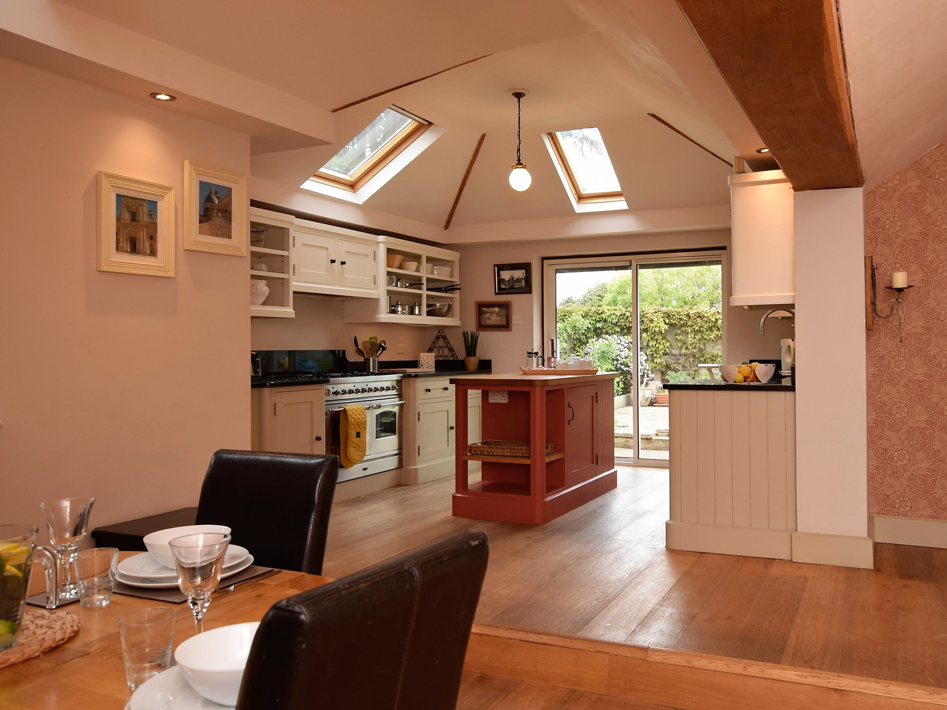 The kitchen/diner is a sociable space to entertain