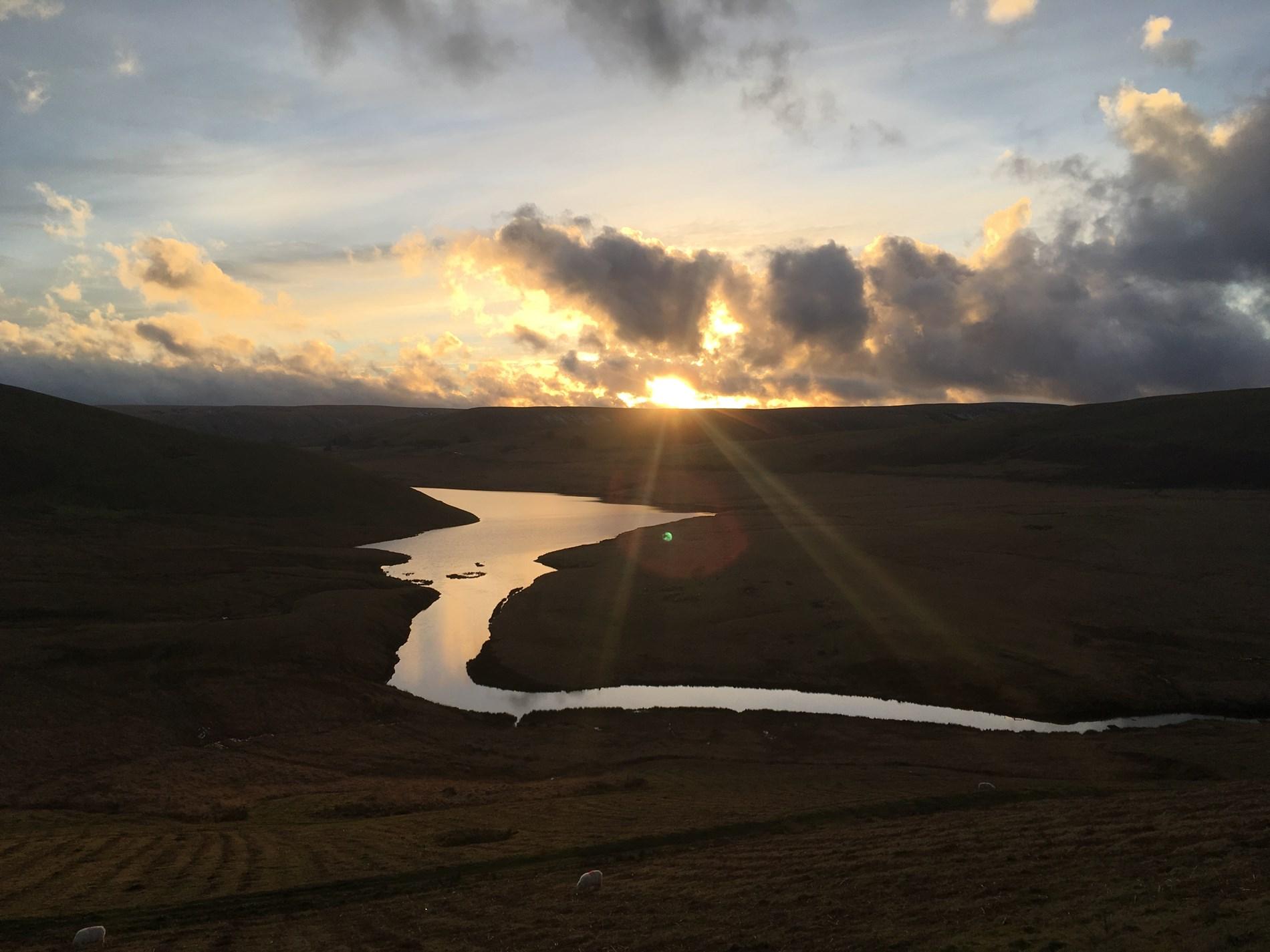 Beautiful sunset views across Craig Goch reservoir