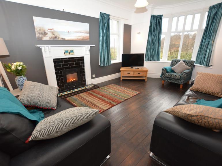 Stylish lounge with mountain views