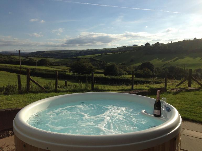 Bubbly hot tub included in the price