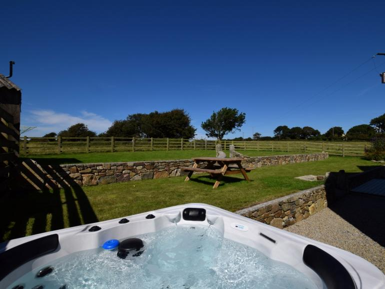 Enjoy stunning views from the hot tub