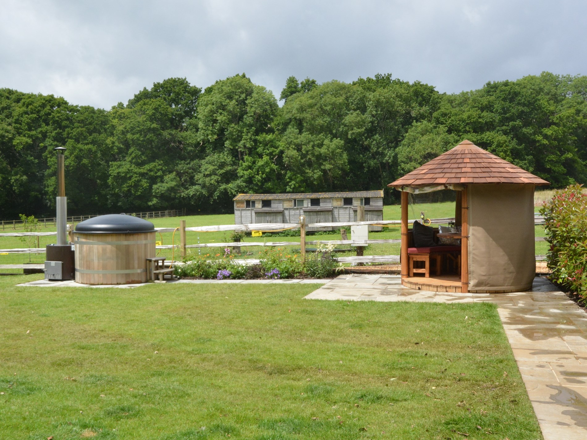 Hot tub and gazebo to make the most of the countryside views