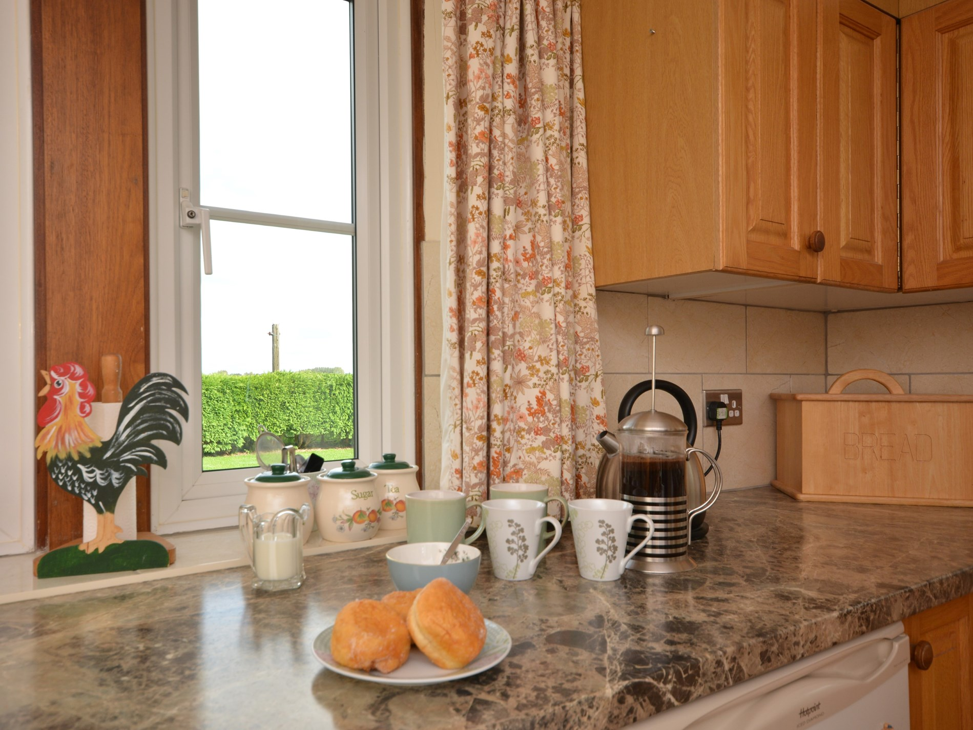 Enjoy your morning cup of coffee with a countryside view