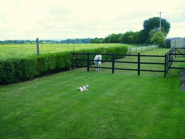Enclosed lawn garden with countryside views