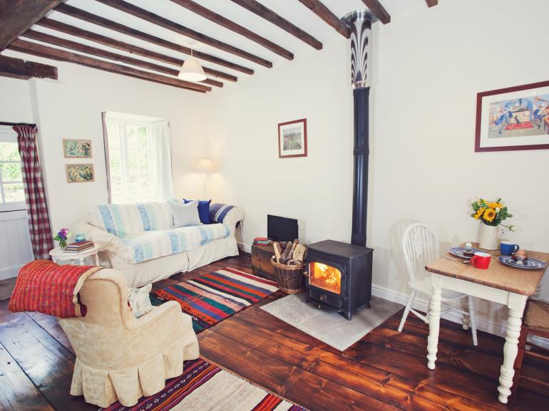 Open plan living with wood burning stove