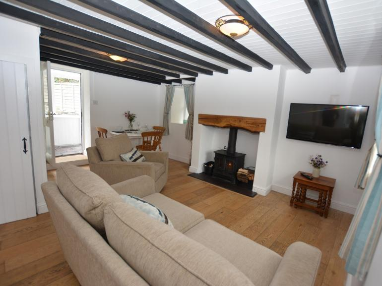 Welcoming lounge with warming wood burner