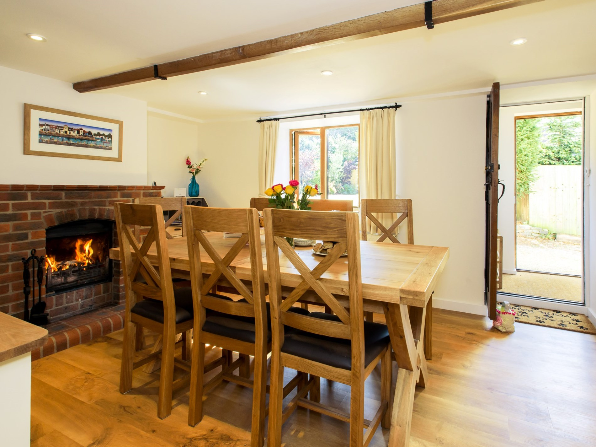 Dining room with open-fire