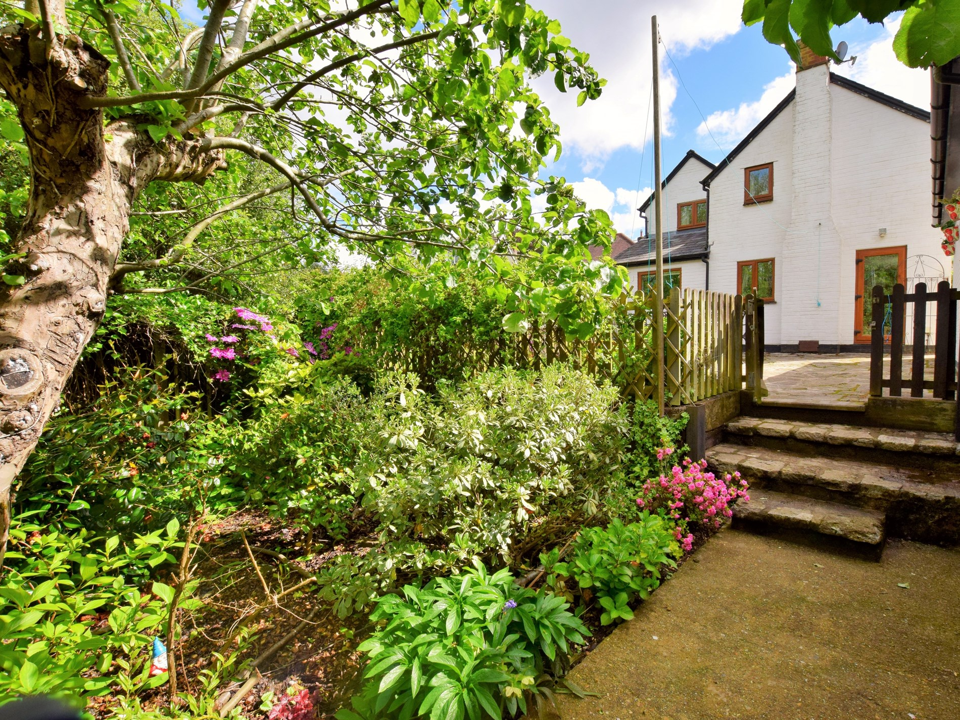 View towards the cottage from the garden area