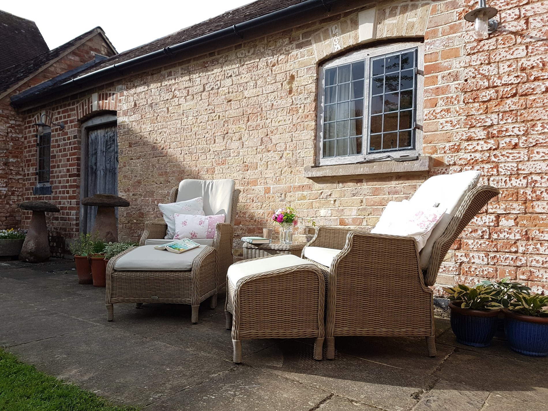 Beautiful outdoor seating to enjoy the sun and a good book