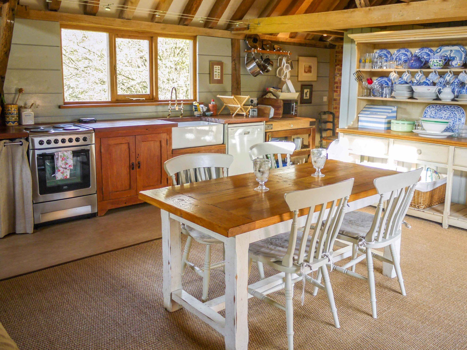 Relax in the spacious kitchen/dining area