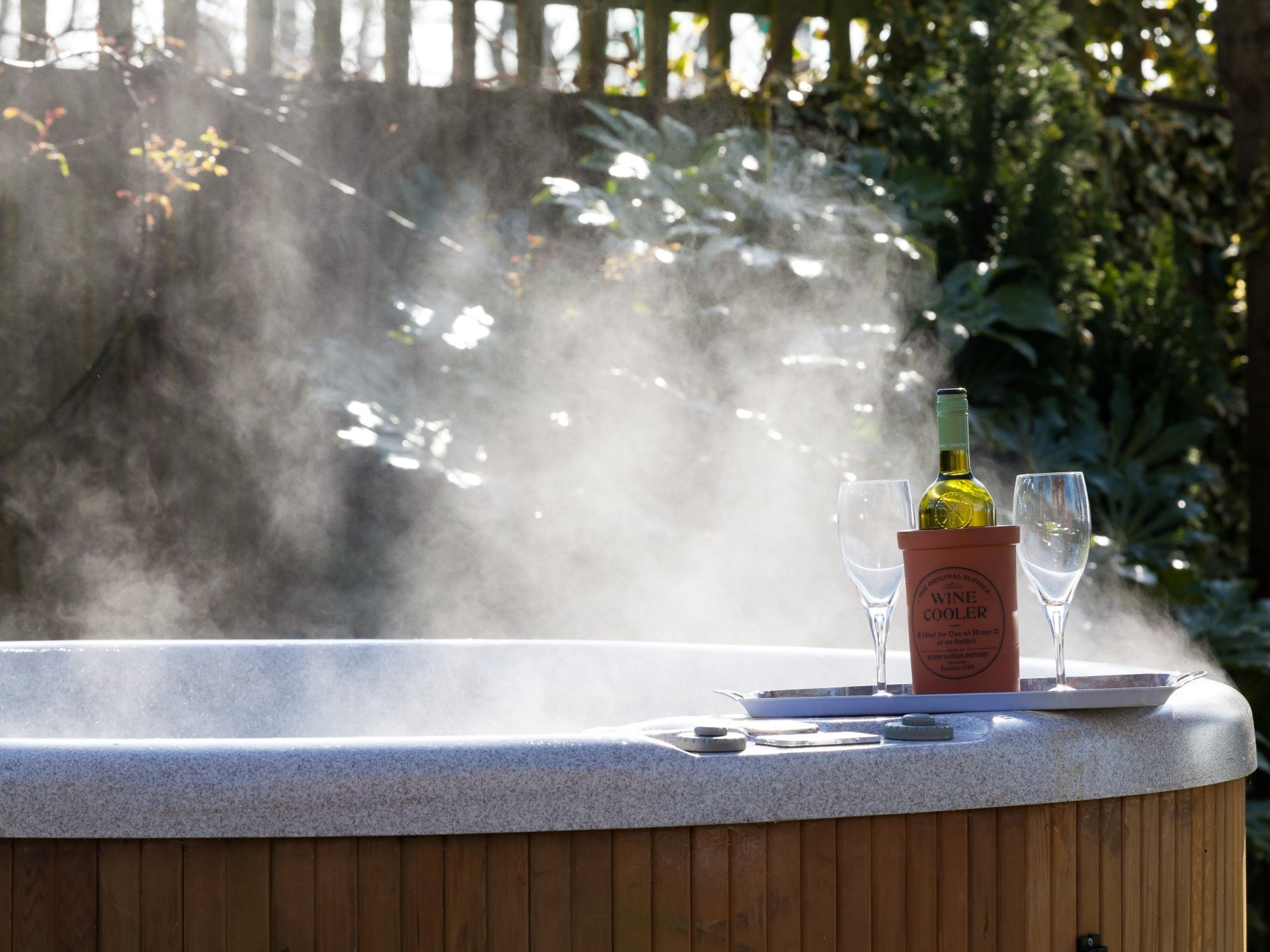Take a dip in the steamy hot tub
