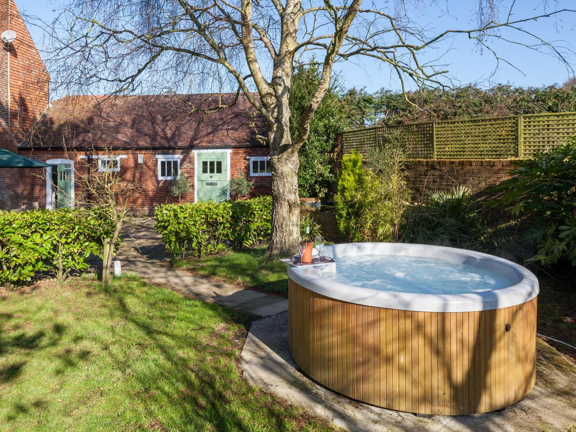 Sink into the bubbly hot tub and enjoy the warmth