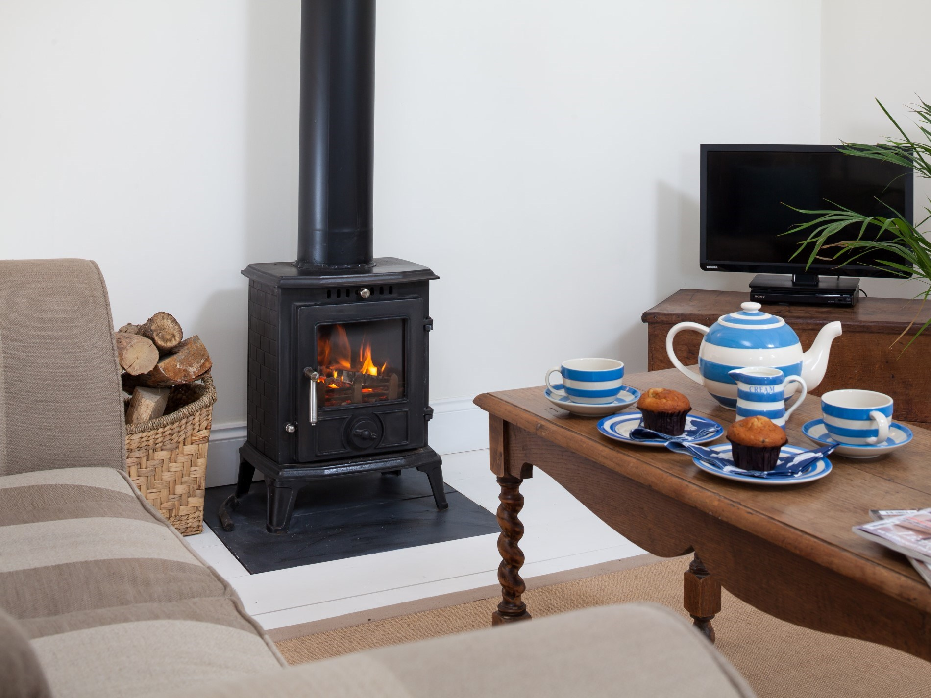 Let the roaring woodburner lull you into the evening