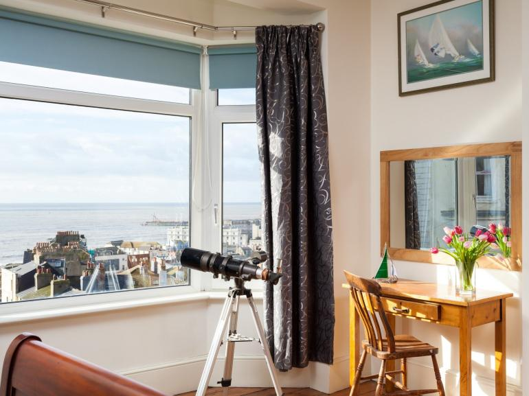Admire the views over Hastings to the sea