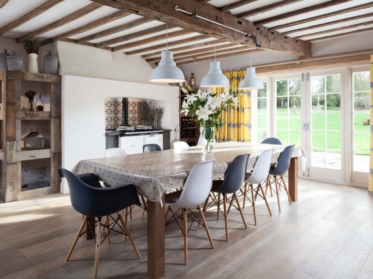 Dining room with french doors leading to patio
