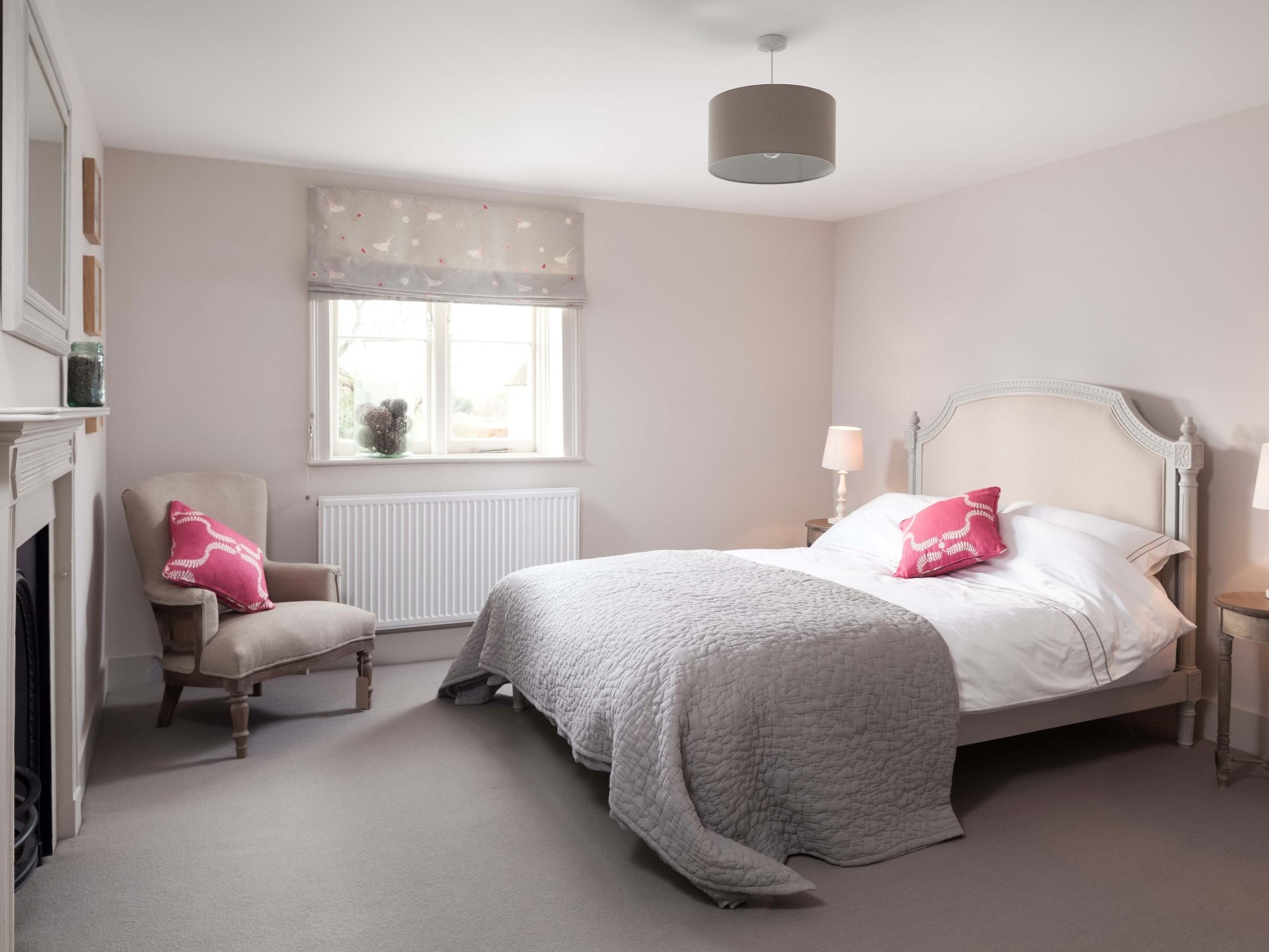 King-size bedroom with calming colours