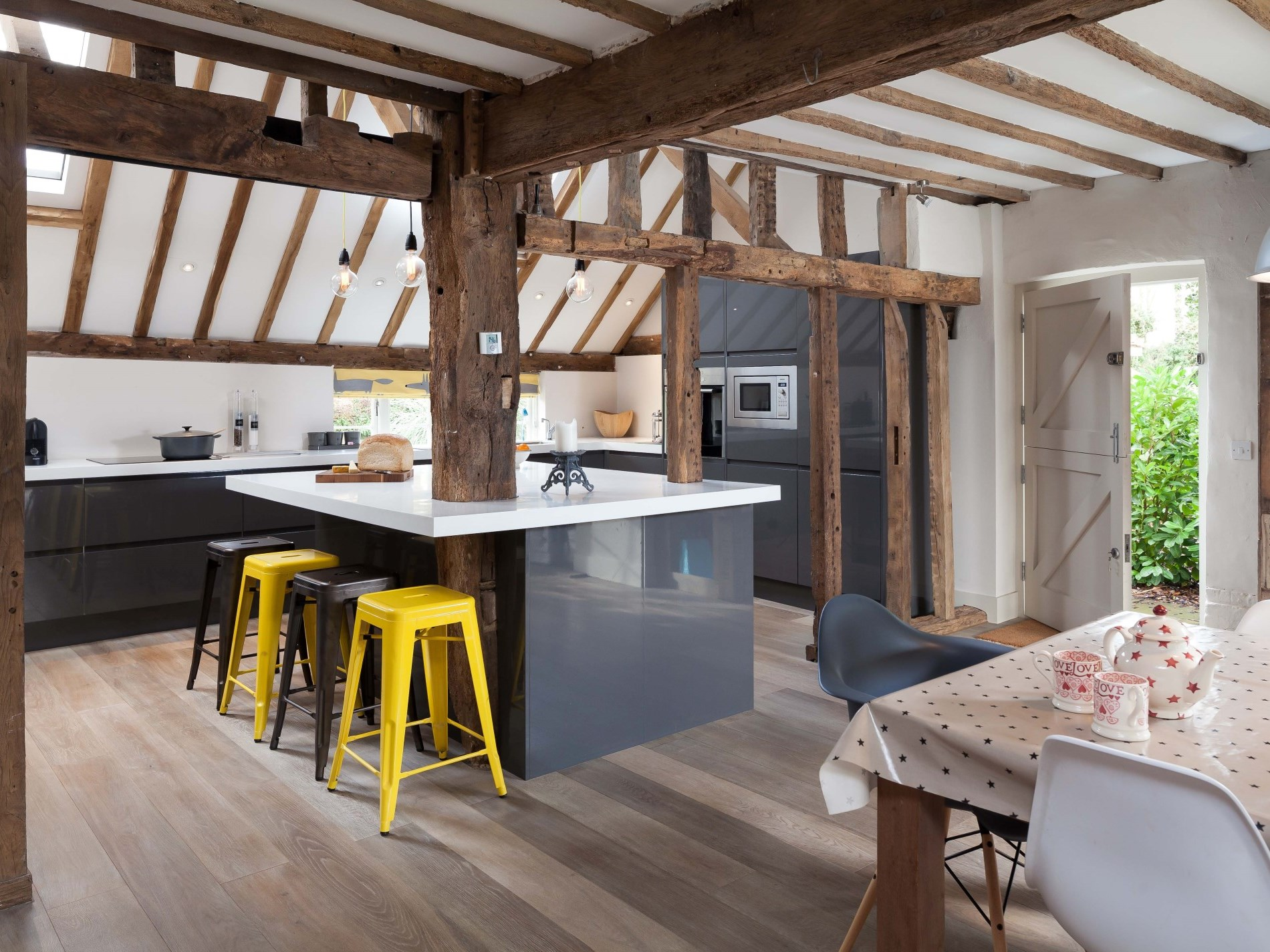 Exposed beams throughout