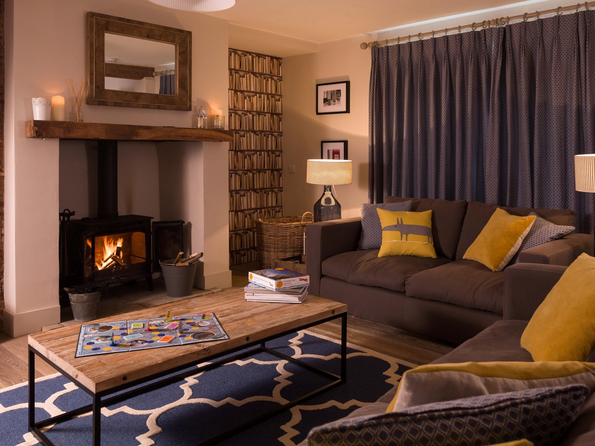 Lounge with inviting woodburner