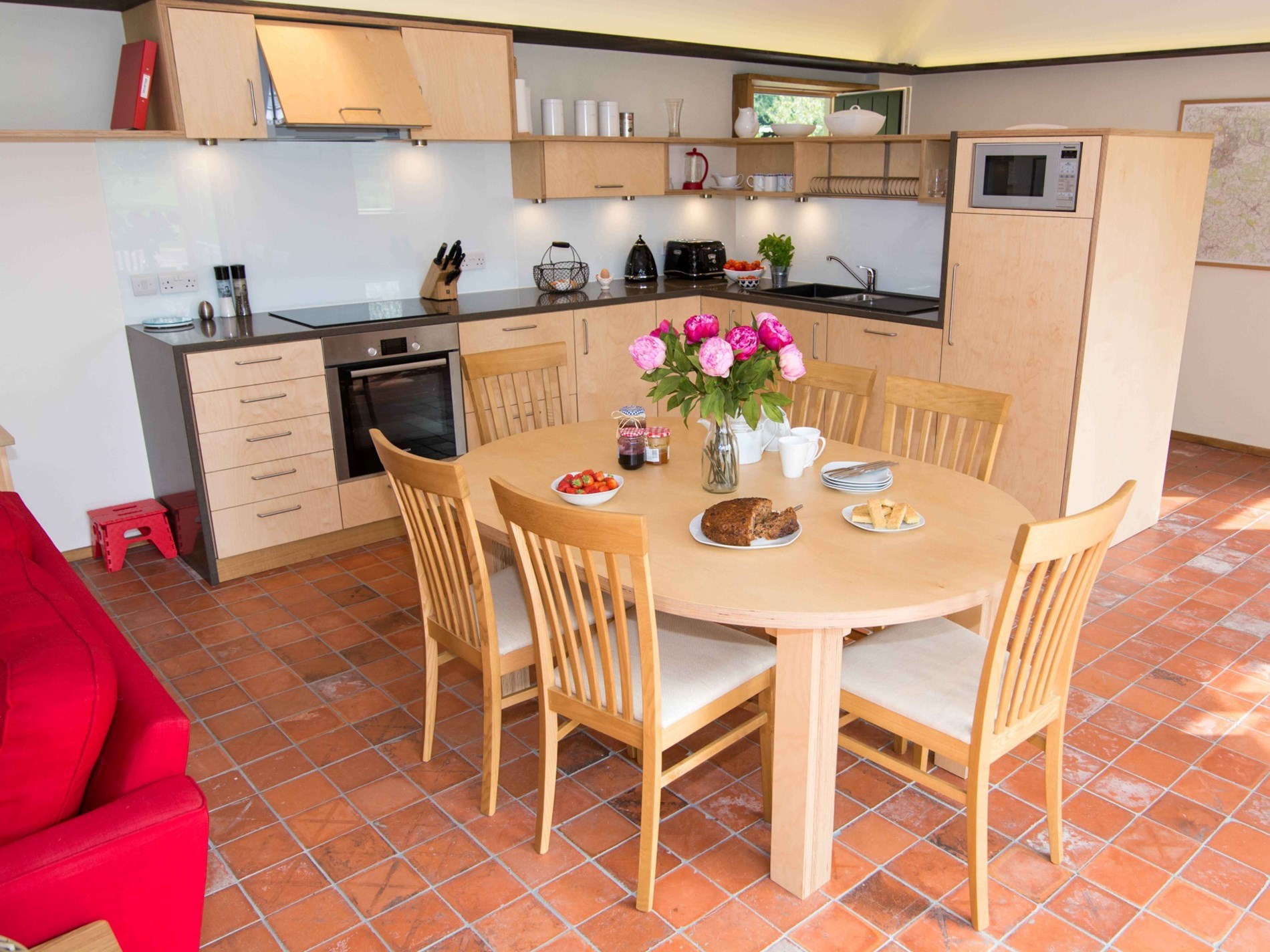 Family meals in the dining area by the kitchen