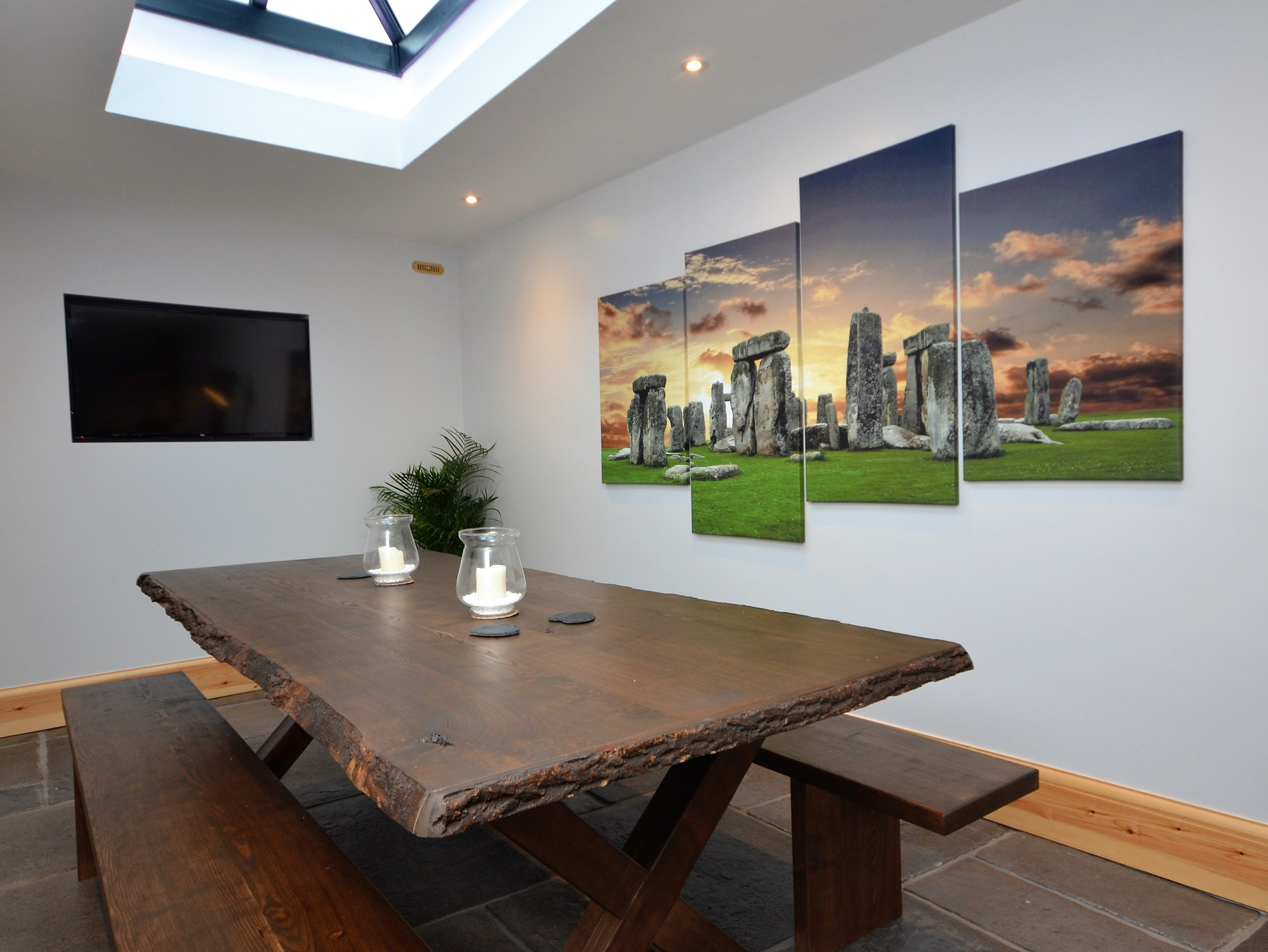 Dining area with large flatscreen TV
