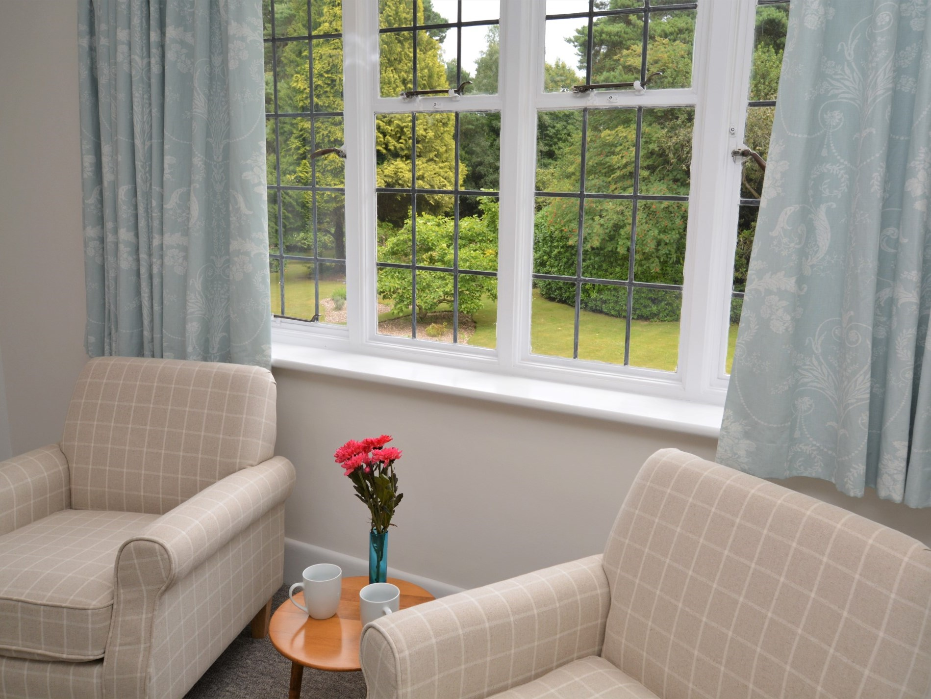 Views over the garden from the bedroom