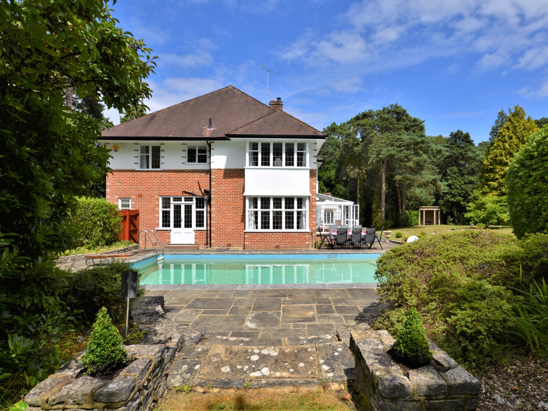 Looking towards the property and swimming pool