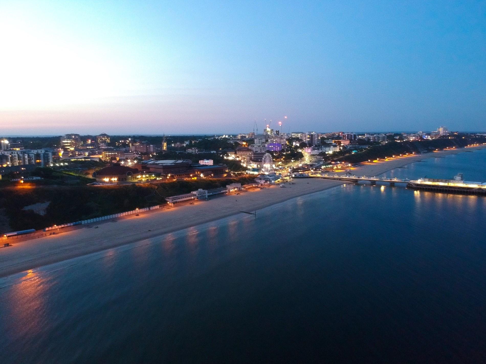 Night time views across Bournemouth