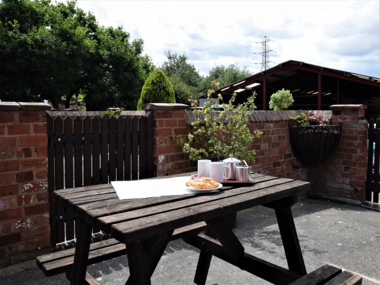 Plan your day on the sunny patio