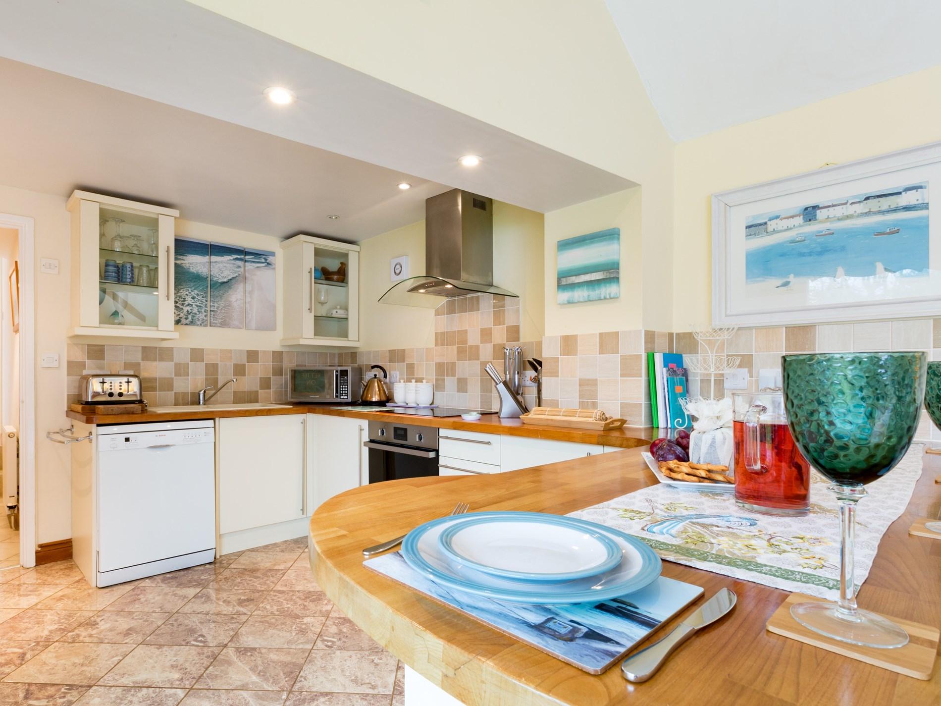 Modern kitchen with dining breakfast bar
