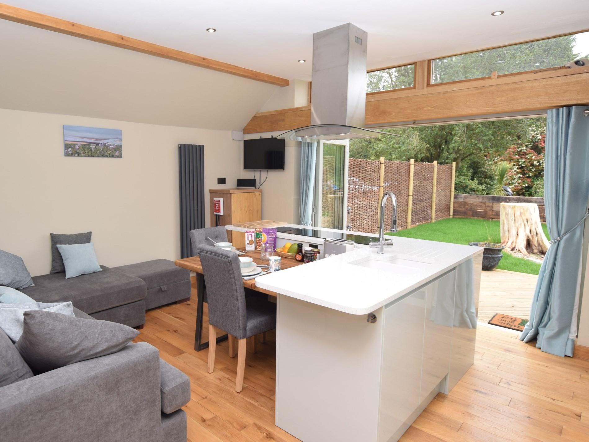 Open-plan Lounge/kitchen/dining/sleeping area