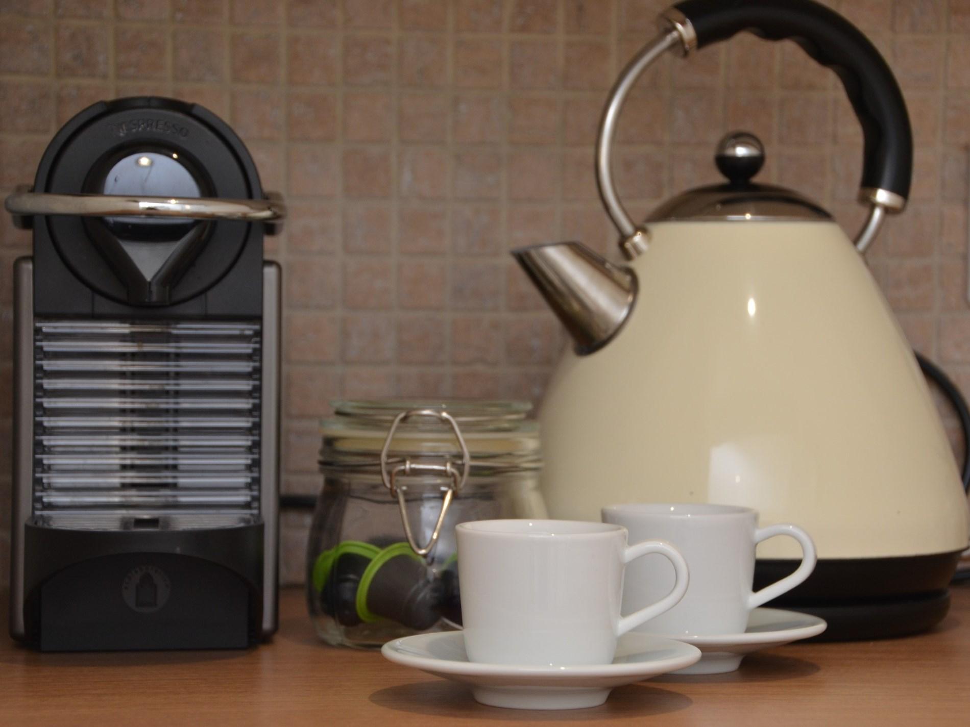 Fresh nespresso coffee in the morning