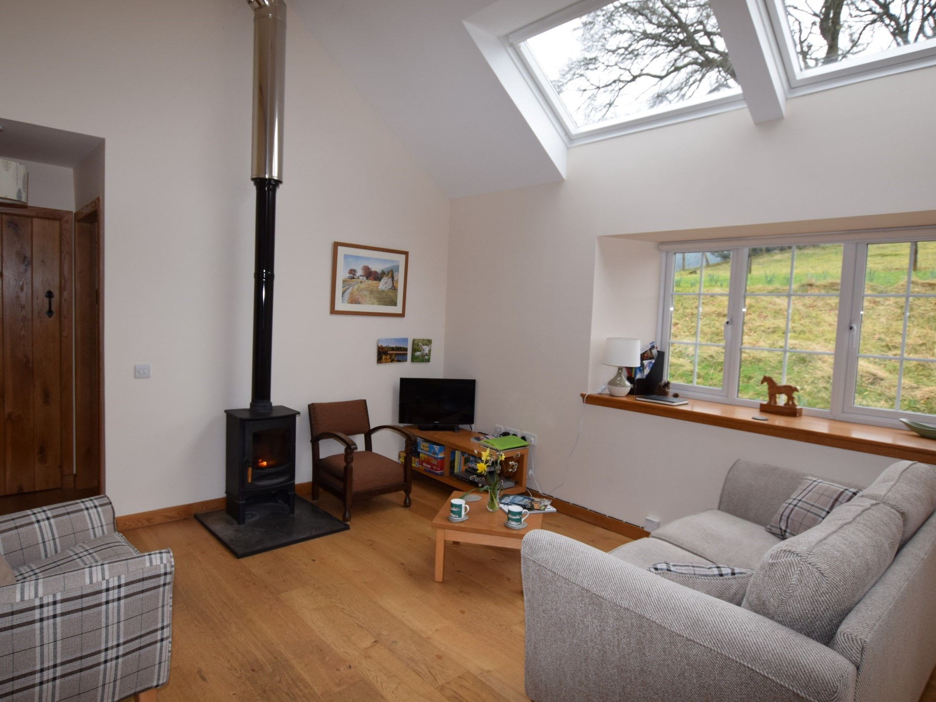 Light and bright lounge with woodburner