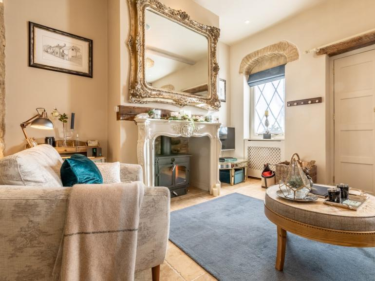 Beautiful lounge with the all important wood burner